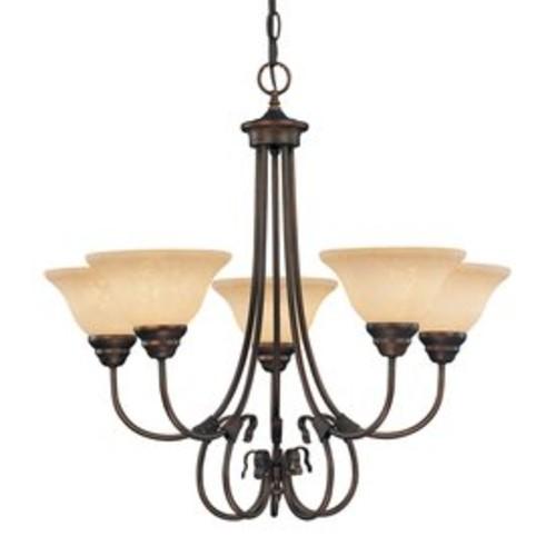 Millennium Lighting Fulton 26-in 5-Light Rubbed bronze Mediterranean Scavo Glass Shaded Chandelier