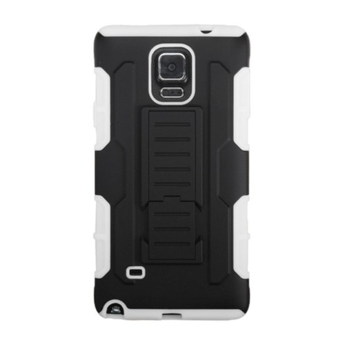 INSTEN Dual Layer Hybrid Stand Rubberized Hard Plastic PC/ Silicone Phone Case Cover For Samsung Galaxy Note 4 [option : Black/ White]