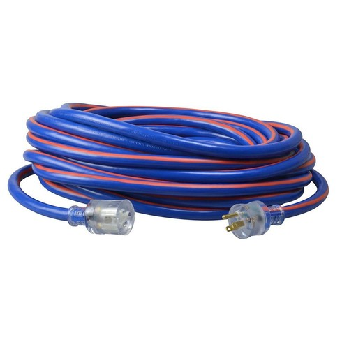 Southwire 50 ft. 10/3-Gauge Neon Stripe Outdoor Extension Cord with Lighted Ends, Blue/Red