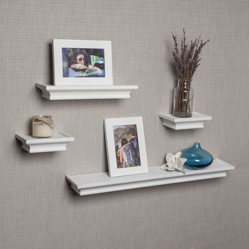 DANYA B Contempo 24 in. W x 1.5 in. H White MDF Cornice Ledge Shelves (Set of 4) with 2 Photo Frames