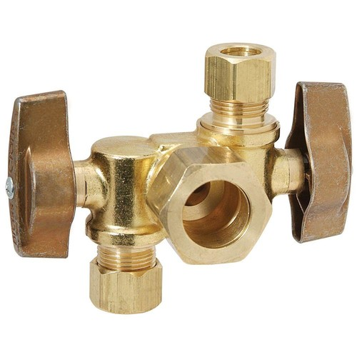 BrassCraft 1/2 in. Nominal Inlet x 3/8 in. O.D. Comp x 1/4 in. O.D. Dual Outlet Dual Shut-Off 1/4 in. Turn Angle Ball Valve