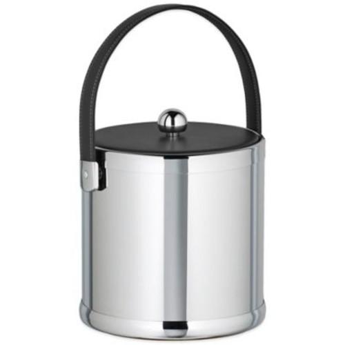 Kraftware Americano Polished Chrome 3 qt. Ice Bucket with Black Leatherette Lid