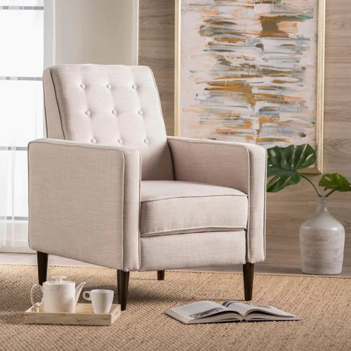 Mervynn Mid-Century Button Tufted Fabric Recliner Club Chair by Christopher Knight Home [option : Light Grey Tweed]