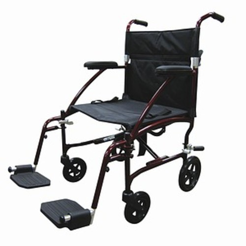 Drive Medical Fly Lite Ultra Lightweight Transport Wheelchair, Red