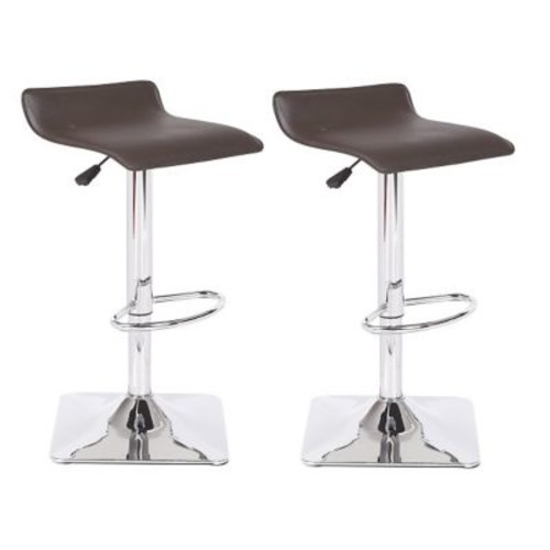 Container Adjustable Height Swivel Bar Stool; Chocolate