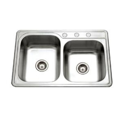 HOUZER Glowtone Series Drop-In Stainless Steel 33 in. 3-Hole Double Bowl Kitchen Sink