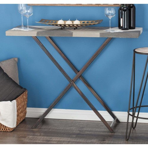 Modern Iron and MDF Console Table with Rustic Tabletop