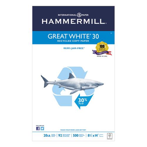 Hammermill HAM86704 Great White Recycled Copy Paper, 92 Brightness, 20lb, 8-1/2 x 14, 500 Shts/Ream