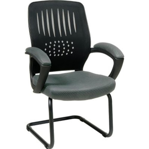 Office Star WorkSmart Fabric Guest Chair with Screen Back, Gray