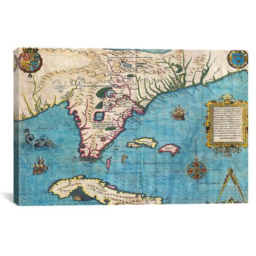 iCanvas Jacques le Moyne de Morgues 'Map of Florida & Cuba (1588)' Canvas Art