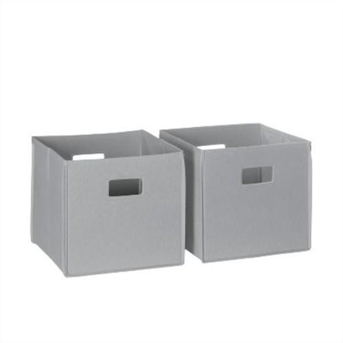 2 Piece Folding Storage Bin Set - Gray