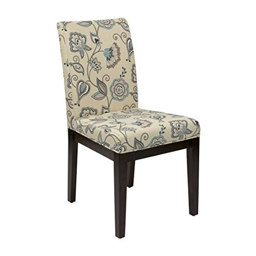 AVE SIX Dakota Upholstered Parsons Chair with Espresso Finish Wood Legs, Avignon Sky