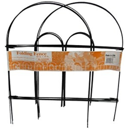 Glamos 367779 Folding Metal Wire Garden Fence, 18-Inch by 10-Foot, Pack of 12, Black [Black]