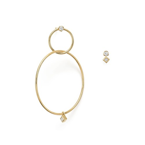 14K Yellow Gold Mixed Diamond Stud and Hoop Earrings