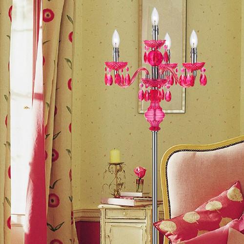AF Lighting Fulton 59.5-in Hot Pink Candlestick Floor Lamp