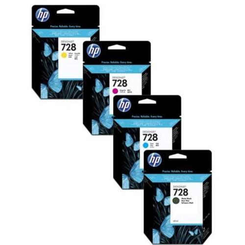 HP 728 40-ml DesignJet Ink Cartridge Bundle Yellow/Magenta/Cyan/Matte Black IHP72840K