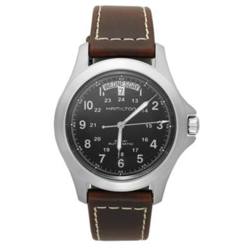 Hamilton Watch, Mens Swiss Automatic Khaki King Brown Leather Strap 40