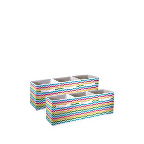Chevron Multi-Colored Pattern Storage Bins - Set of 6