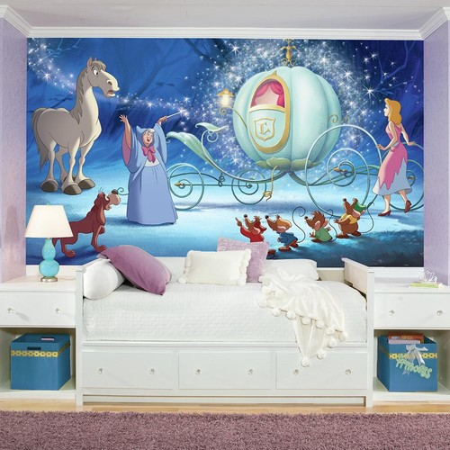 RoomMates 72 in. x 126 in. Disney Princess Cinderella Carriage XL Chair Rail 7-Panel Prepasted Mural