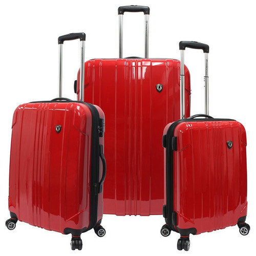 Travelers Choice Sedona 3-Piece Expandable Spinner Luggage - Red