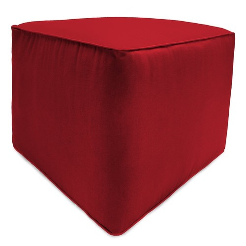 Jordan Manufacturing Square Pouf/Ottoman with matching welt, Veranda Red, Best Turquoise