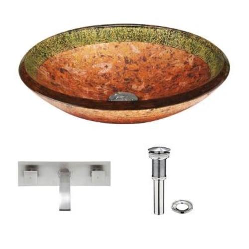 VIGO Glass Vessel Sink in Janus with Titus Wall-Mount Faucet Set in Brushed Nickel