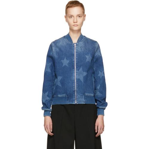 STELLA MCCARTNEY Blue Denim Star Bomber Jacket