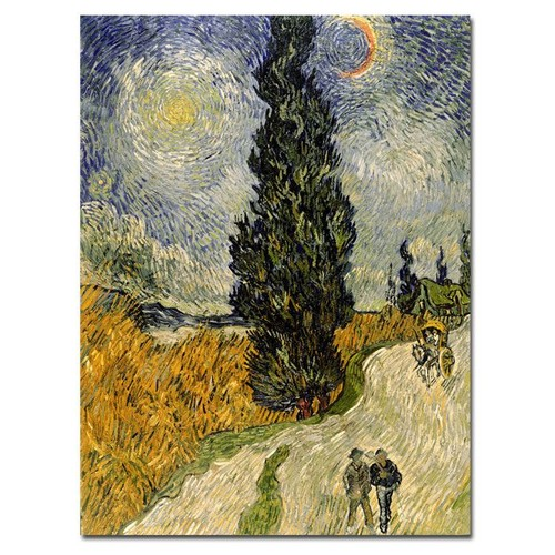 Trademark Global Vincent van Gogh 'Road with Cypresses 1890' Canvas Art [Overall Dimensions : 35x47]