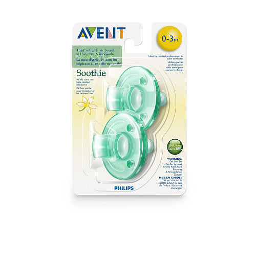 Philips AVENT BPA Free 0-3 Months 2 Pack Vanilla Scented Soothie Pacifier - Green