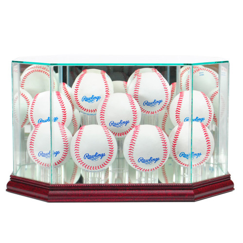 Perfect Cases Cherry Finish 9 Baseball Display Case