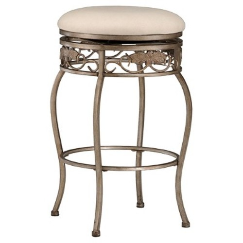 Hillsdale Bordeaux 30-Inch Backless Swivel Bar Stool, Pewter with Bronze Finish, Off-White Fabric [Bar]