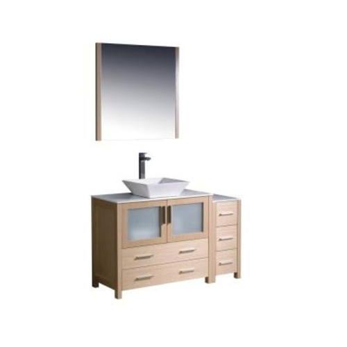 Fresca Torino 48 in. Vanity in Light Oak with Glass Stone Vanity Top in White with White Basin and Mirror