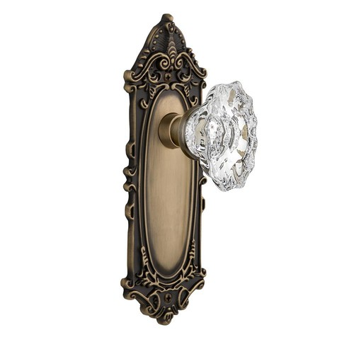 Nostalgic Warehouse Victorian Plate with Keyhole 2-3/8 in. Backset Antique Brass Passage Hall/Closet Chateau Door Knob