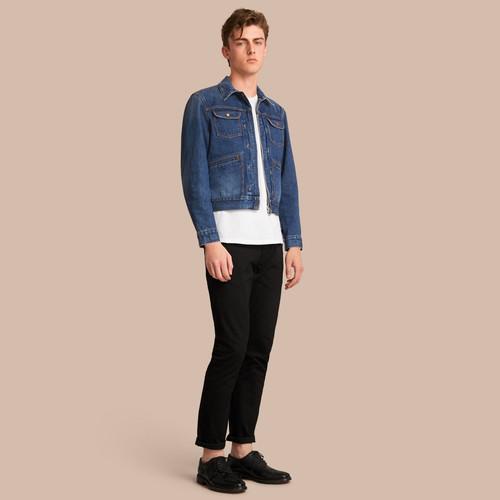 Zip-front Cropped Denim Jacket