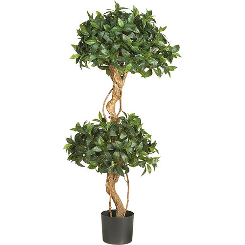 Nearly Natural 5233 4-Foot Sweet Bay Double Ball Topiary Silk Tree