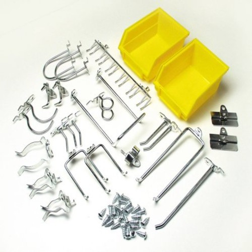 Triton Products 76901 DuraHook 26-Piece Zinc Plated Steel Hook and Bin Assortment for DuraBoard 24 Assort Hooks and 2 Bins