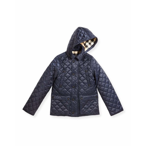 BURBERRY Charlie Quilted Jacket, Ink Blue, Size 4-14