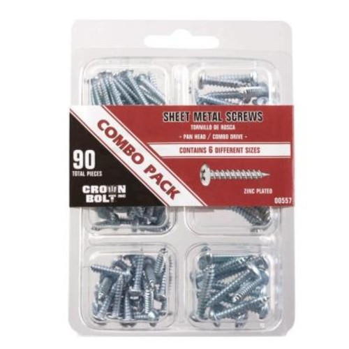 Zinc-Plated Pan-Head Phillips Drive Sheet Metal Screw Combo Pack (90-Piece)