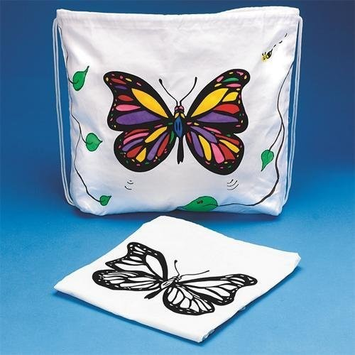 Velvet Art Butterfly Drawstring Bag (Pack of 12)