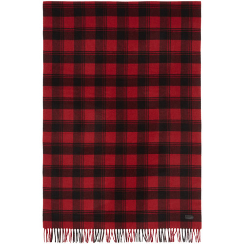 SAINT LAURENT Red & Black Plaid Scarf
