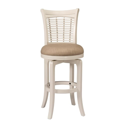 Hillsdale Furniture Bayberry 30 in. White Swivel Cushioned Bar Stool