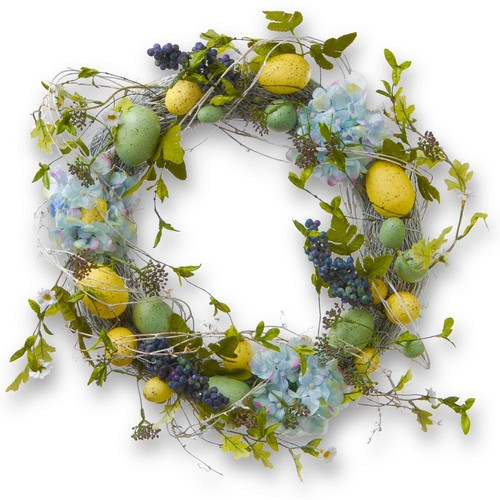 National Tree Company 18 in. Decorated Wreath with Eggs and Hydrangeas