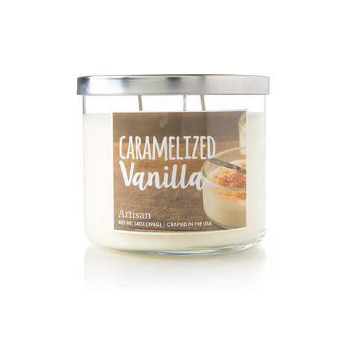 Caramelized Vanilla Scented Candle - White