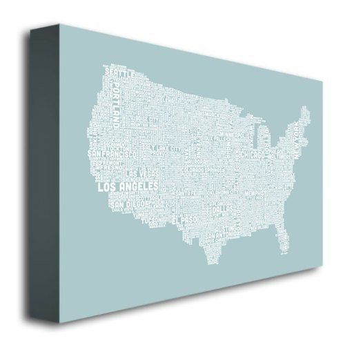 US City Map VIII by Michael Tompsett, 16x24-Inch Canvas Wall Art [16 by 24-Inch]