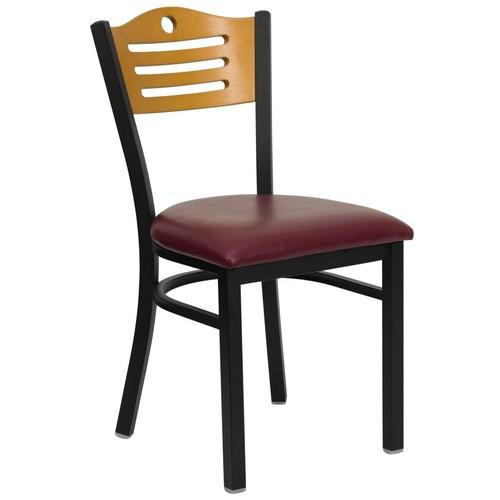 Flash Furniture HERCULES Slat Natural Wood Back Vinyl Metal Restaurant Chairs; Burgundy, 4/Pack