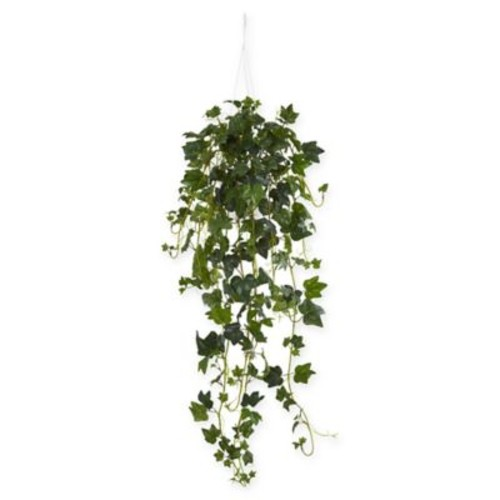 Nearly Natural English Ivy Artificial Plant with White Hanger Basket