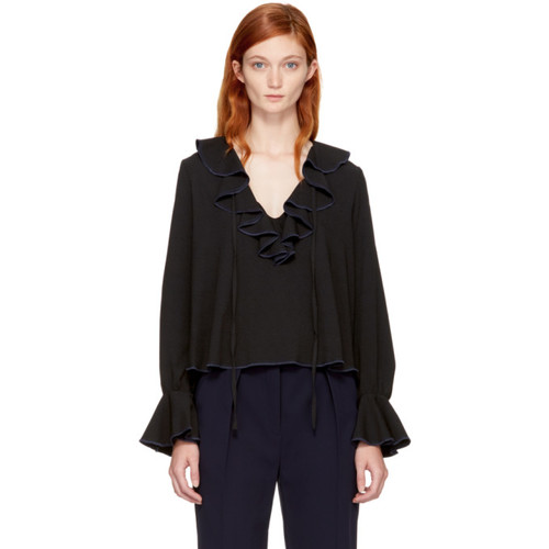 SEE BY CHLOÉ Black Lace Up V-Neck Blouse