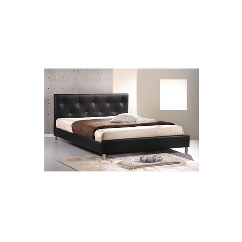 Barbara Black Leather Modern Queen Size Bed with Crystal Button Tufting