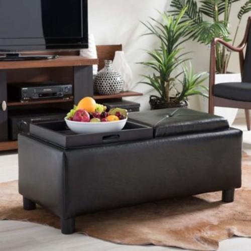 Baxton Studio Billard Leather Ottoman in Dark Brown