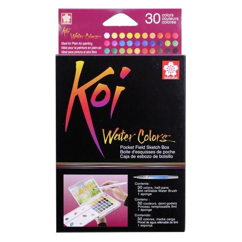 Sakura XNCW-30N Koi Field 30 Assorted Watercolors with Brush Sketch Set [30 Color Set, Koi Water Color Field Sketch Set]
